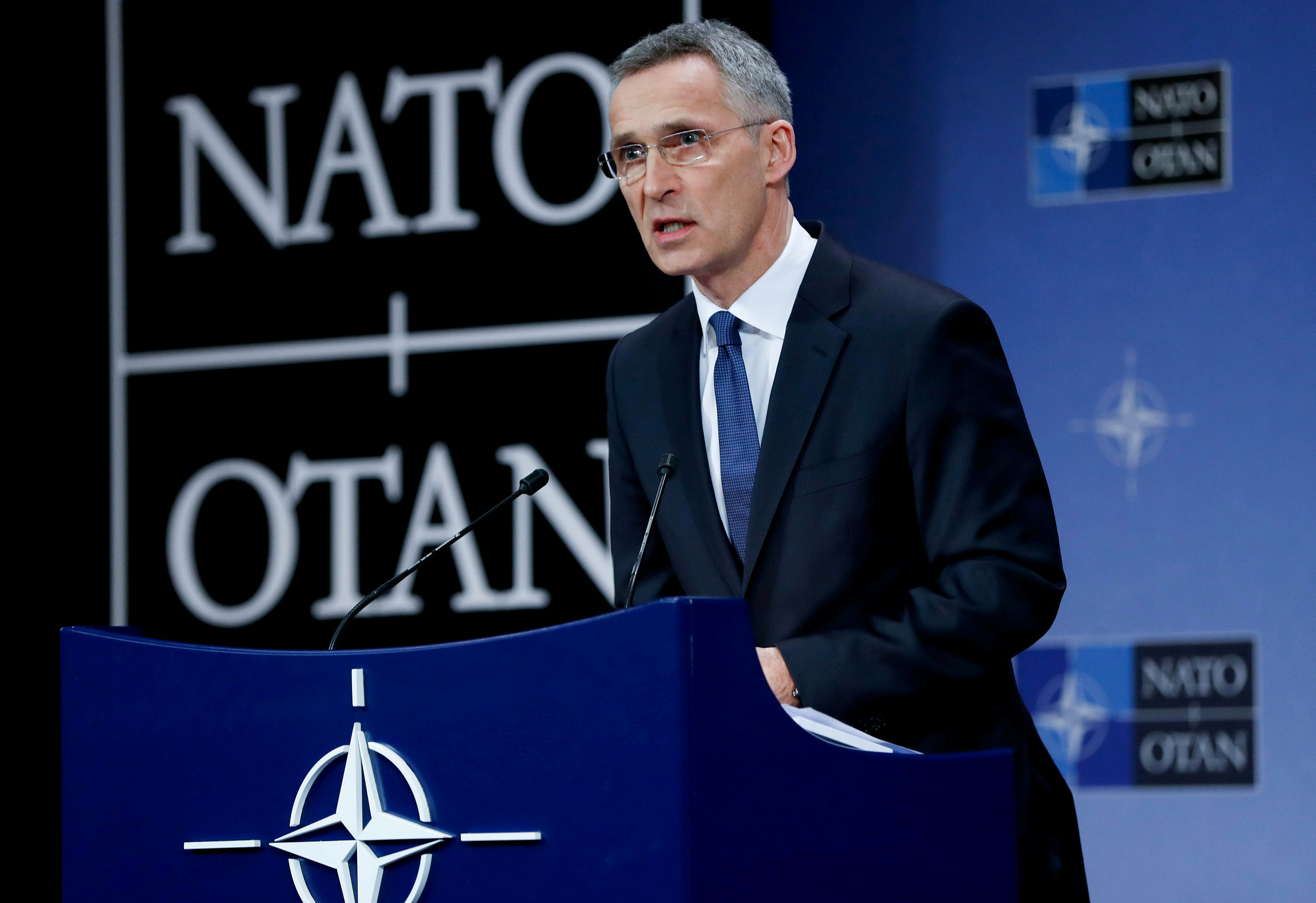 NATO Secretary-General Jens Stoltenberg addresses a news conference at the Alliance headquarters in Brussels, Belgium, March 15, 2018. REUTERS/Yves Herma