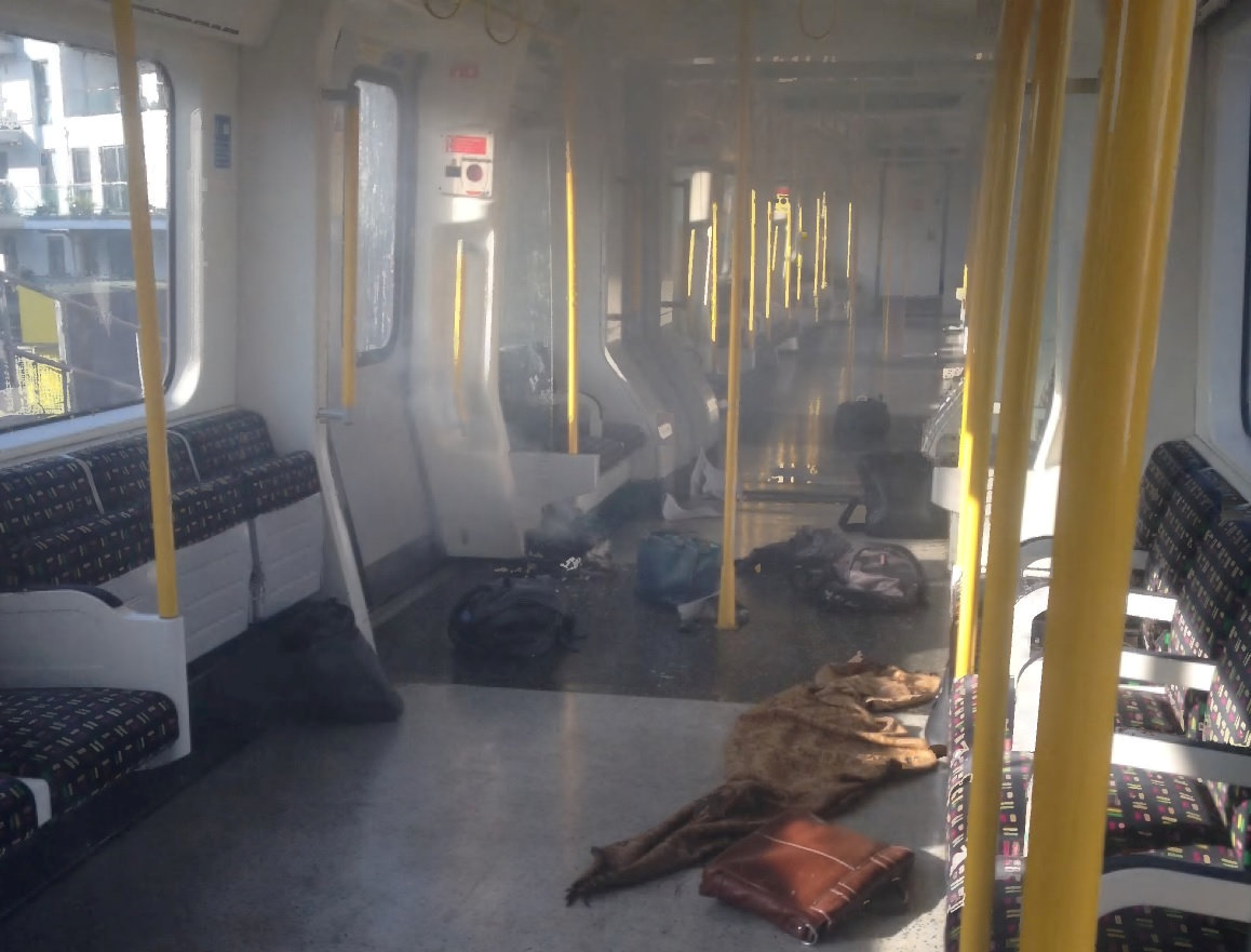 The explosive device, left by Ahmed Hassan, can be seen still smoking on the underground train at Parsons Green tube station in London, Britain. Metropolitian Police/Handout via