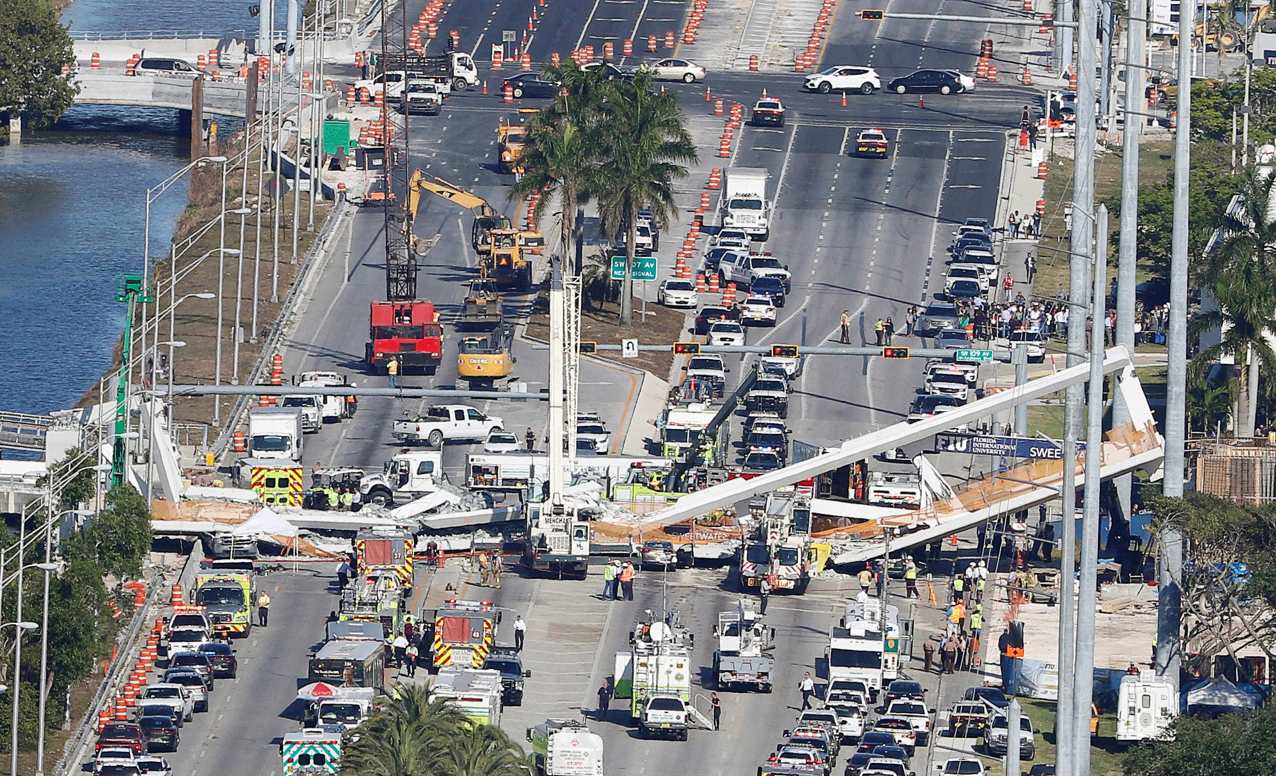FILE PHOTO: Aerial view shows a pedestrian bridge collapsed at Florida International University in Miami, Florida, U.S., March 15, 2018. REUTERS/Joe Skipper/File Photo