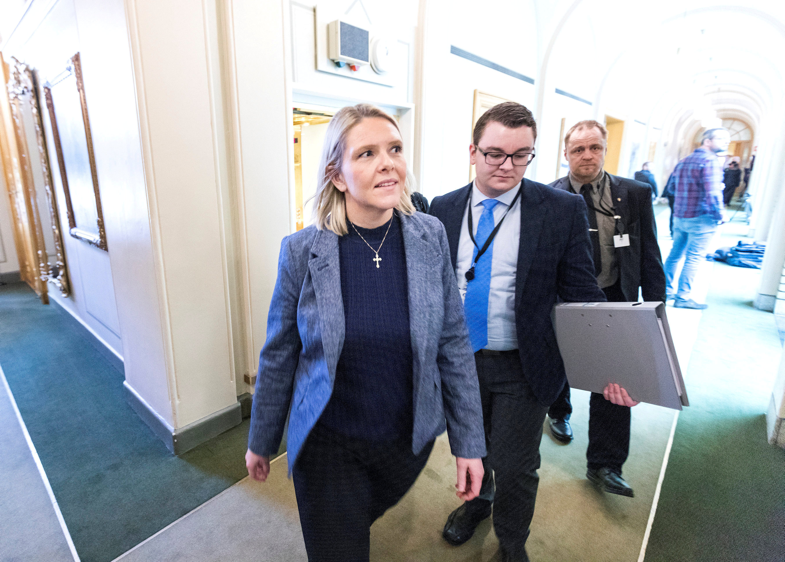 Norway's Justice Minister Sylvi Listhaug and her political adviser Espen Teigen are seen in the Norwegian parlament after several parties supported a motion of no-confidence against her in Oslo, Norway March 15, 2018. NTB Scanpix/Gorm Kallestad via REUTERS