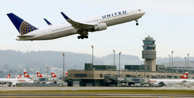 FILE PHOTO: A United Airlines Boeing 767-300ER aircraft takes off from Zurich Airport January 9, 2018. REUTERS/Arnd