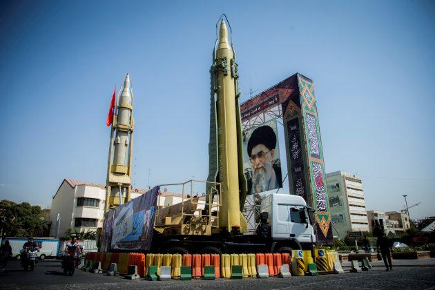 FILE PHOTO: FILE PHOTO: A display featuring missiles and a portrait of Iran's Supreme Leader Ayatollah Ali Khamenei is seen at Baharestan Square in Tehran, Iran September 27, 2017. Nazanin Tabatabaee Yazdi/TIMA via REUTERS