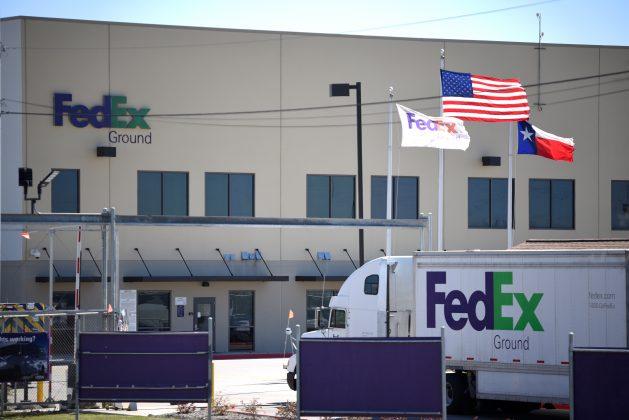 A FedEx truck is seen outside FedEx facility following the blast, in Schertz, Texas, U.S., March 20, 2018. REUTERS/Sergio Flores
