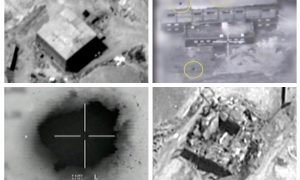 A combination image shows screen grabs taken from video material released on March 21, 2018 which the Israeli military describes as an Israeli air strike on a suspected Syrian nuclear reactor site near Deir al-Zor on Sept 6, 2007. Top row: The site before the attack (L), yellow circles depicting bombs during the air strike on the site (R). Bottom row: An explosion during the air strike on the site (L), debris seen on the site after the attack (R). IDF/Handout via Reuters TV
