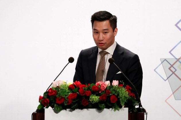 Alex Wong, U.S. deputy assistant secretary at the Bureau of East Asian and Pacific Affairs, speaks at American Chamber of Commerce (AmCham)'s yearly dinner event, in Taipei, Taiwan March 21, 2018. REUTERS/Tyrone Siu