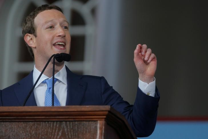 Facebook founder Mark Zuckerberg speaks during the Alumni Exercises following the 366th Commencement Exercises at Harvard University in Cambridge, Massachusetts, U.S., May 25, 2017. REUTERS/Brian Sny