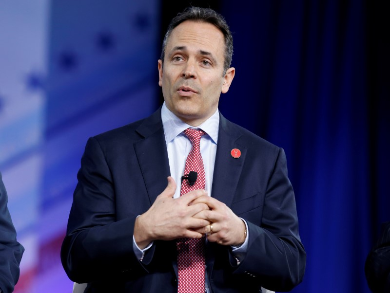 FILE PHOTO: Republican Governor Matt Bevin of Kentucky speaks during the Conservative Political Action Conference (CPAC) in National Harbor, Maryland, U.S., February 23, 2017. REUTERS/Joshua Roberts