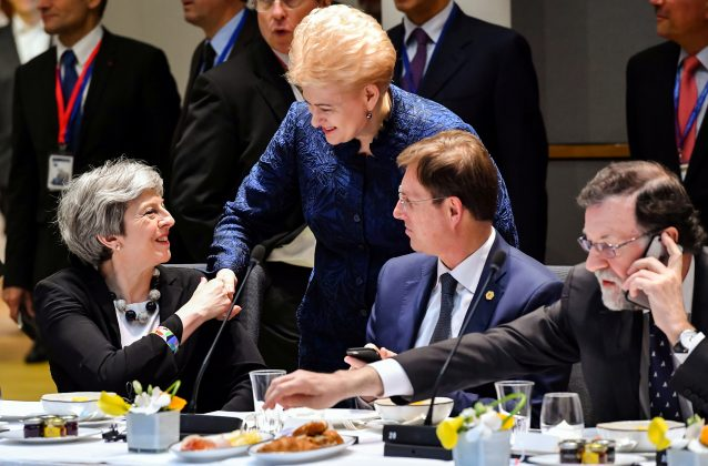 Britain's Prime Minister Theresa May, Lithuania's President Dalia Grybauskaite, Slovenia's Prime Minister Miro Cerar and Spain's Prime Minister Mariano Rajoy attend a European Union leaders summit in Brussels, Belgium, March 23, 2018. Geert Vanden Wijngaert/Pool via Reuters
