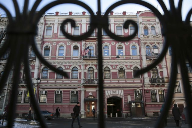 A view through a fence shows the building of the consulate-general of the U.S. in St. Petersburg, Russia March 29, 2018. REUTERS/Anton Vaganov