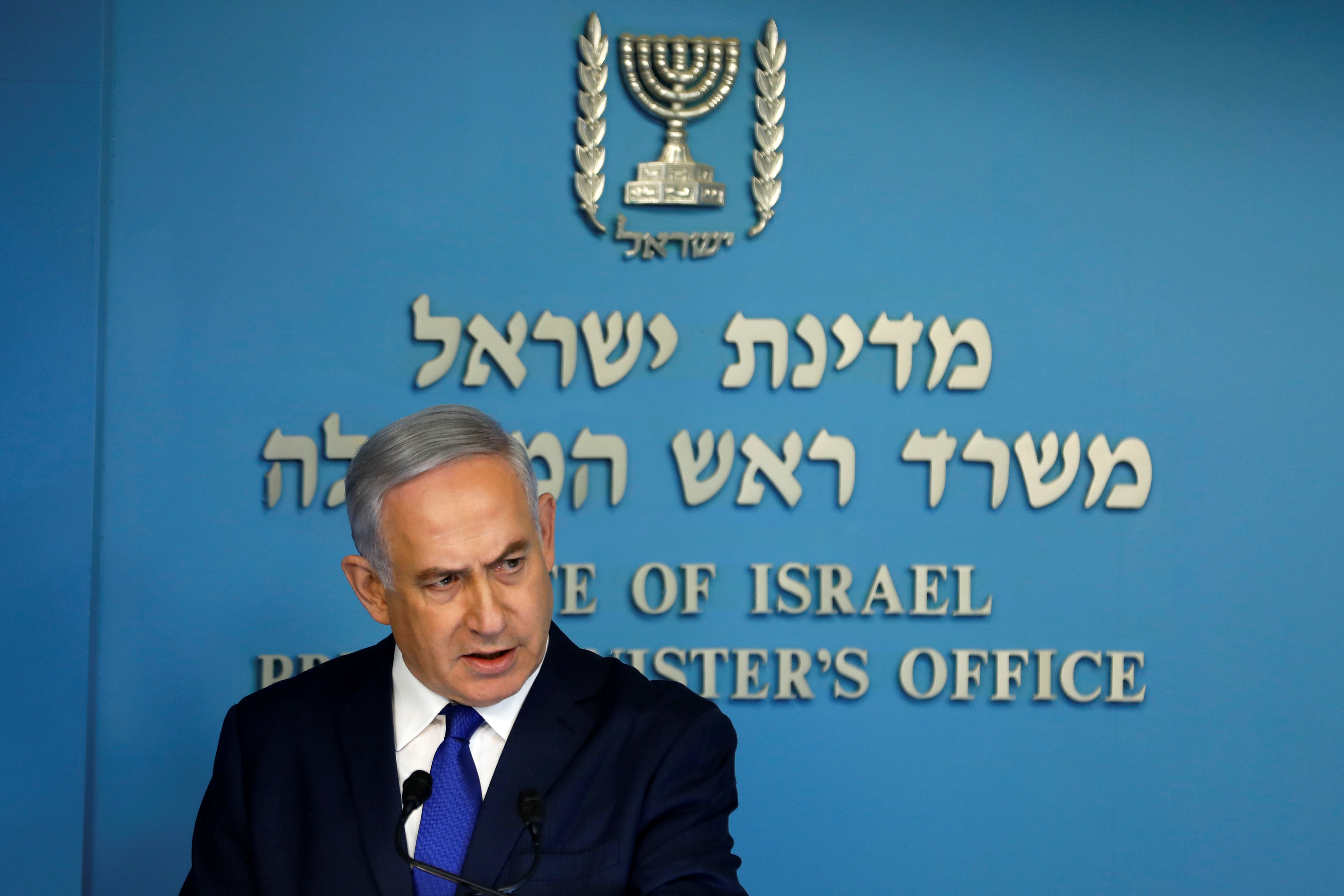 Israeli Prime Minister Benjamin Netanyahu speaks during a news conference at the Prime Minister's office in Jerusalem April 2, 2018. REUTERS/Ronen Zvulun