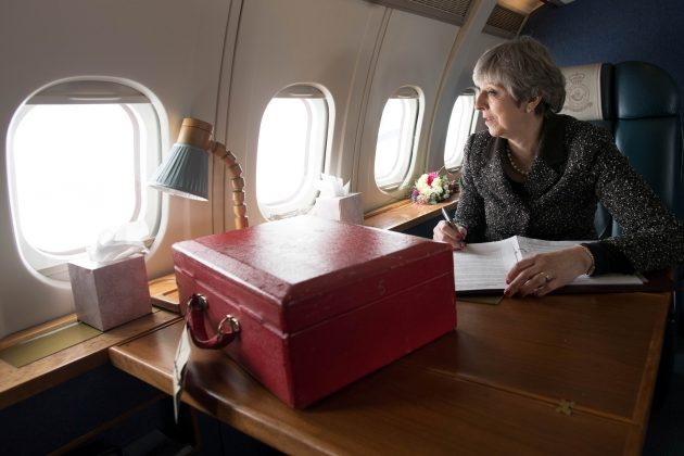 Britain's Prime Minister Theresa May flies to Cardiff after visiting Scotland and Northern Ireland during a tour of the four nations of the United Kingdom exactly a year before it leaves the European Union, March 29, 2018. REUTERS/Stefan Rousseau/Pool