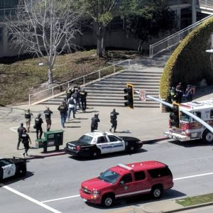 The scenes following a possible shooting at the headquarters of YouTube in San Bruno, California, U.S., April 3, 2018 in this picture obtained from social media. GRAEME MACDONALD/via REUTERS