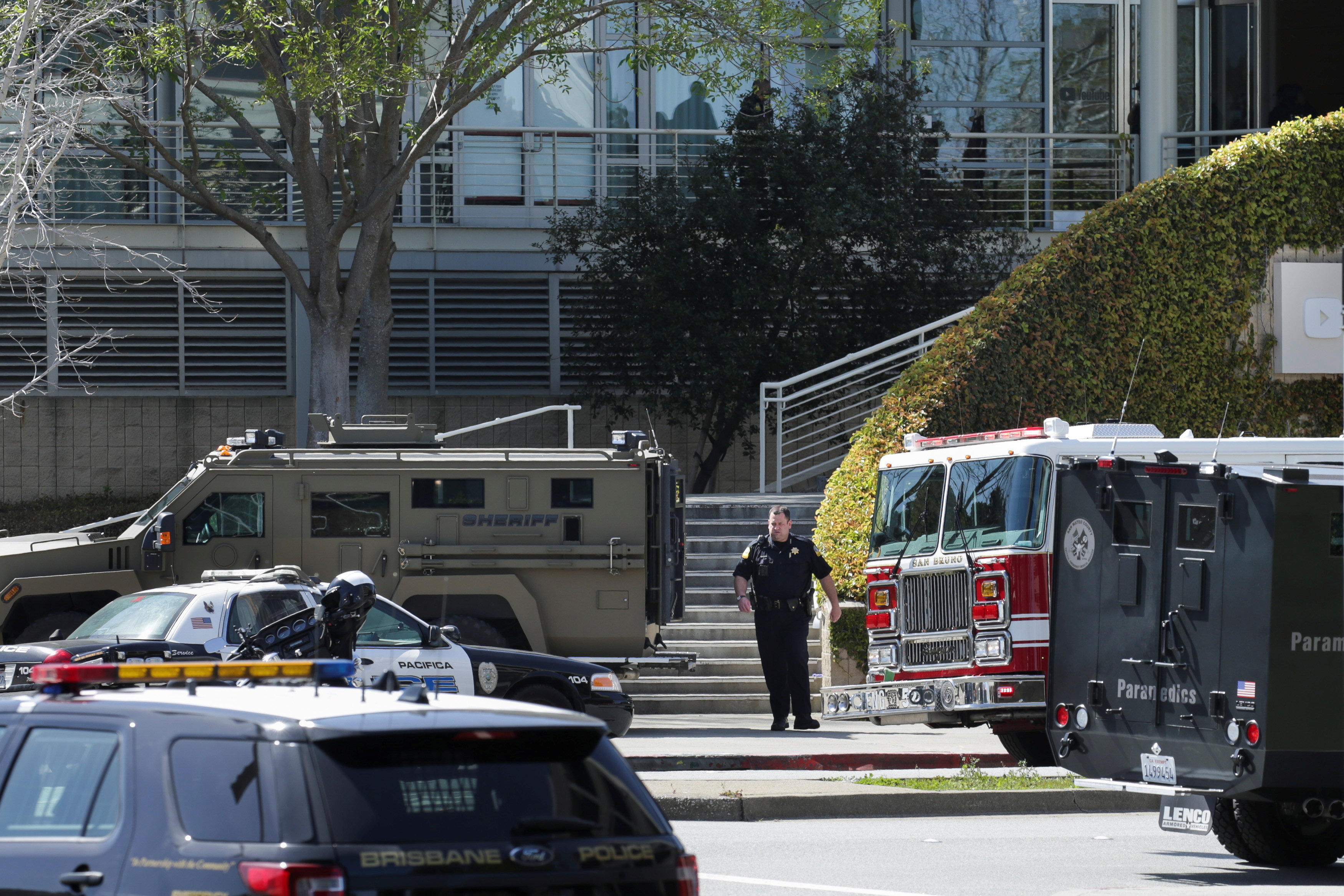 Police officers are seen at Youtube headquarters following an active shooter situation in San Bruno, California, U.S., April 3, 2018. REUTERS/Elijah Nouvelage
