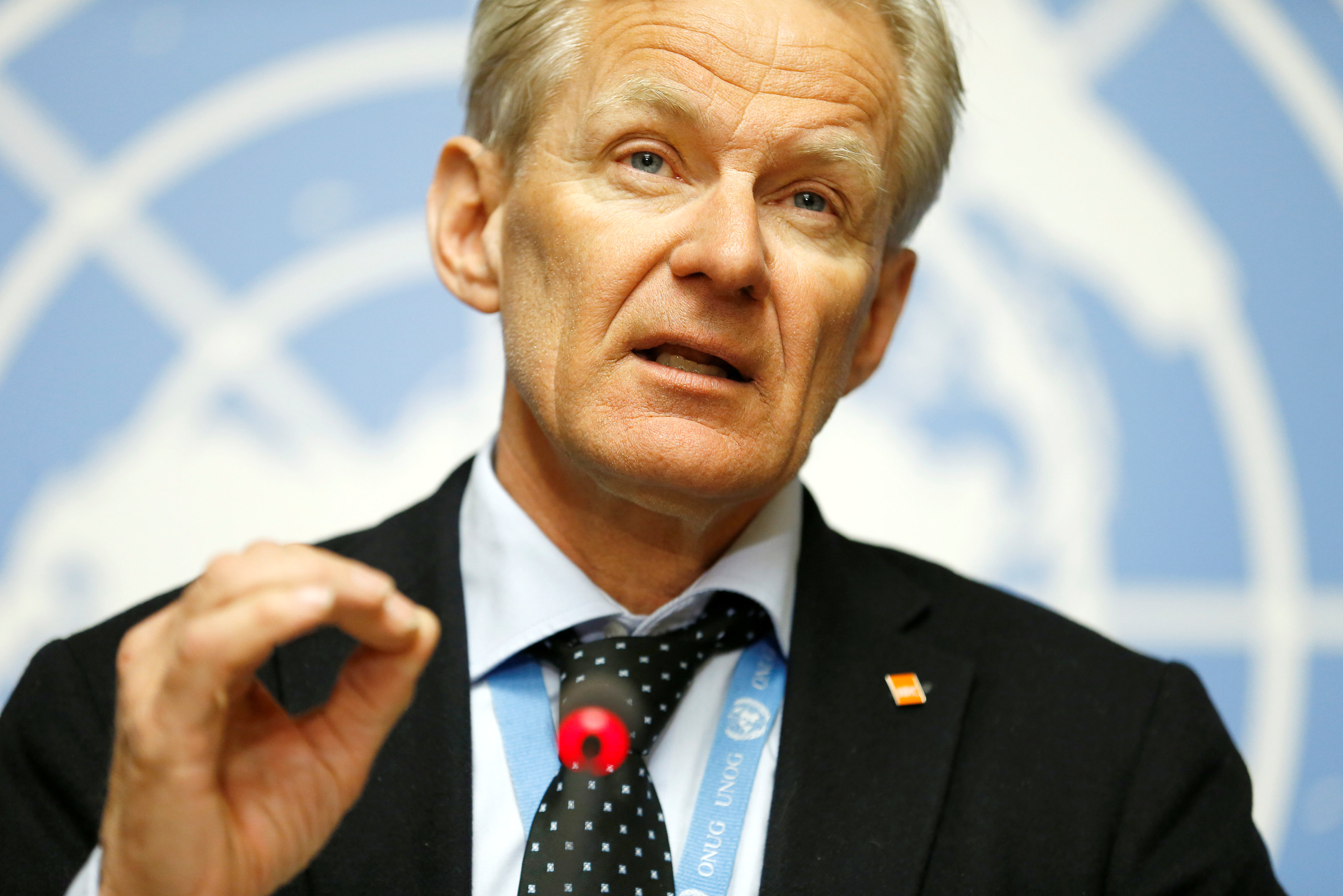 Special Advisor to the United Nations Special Envoy for Syria, Jan Egeland, adresses the media during a news conference in Geneva, Switzerland, April 4, 2018. REUTERS/Pierre Albouy