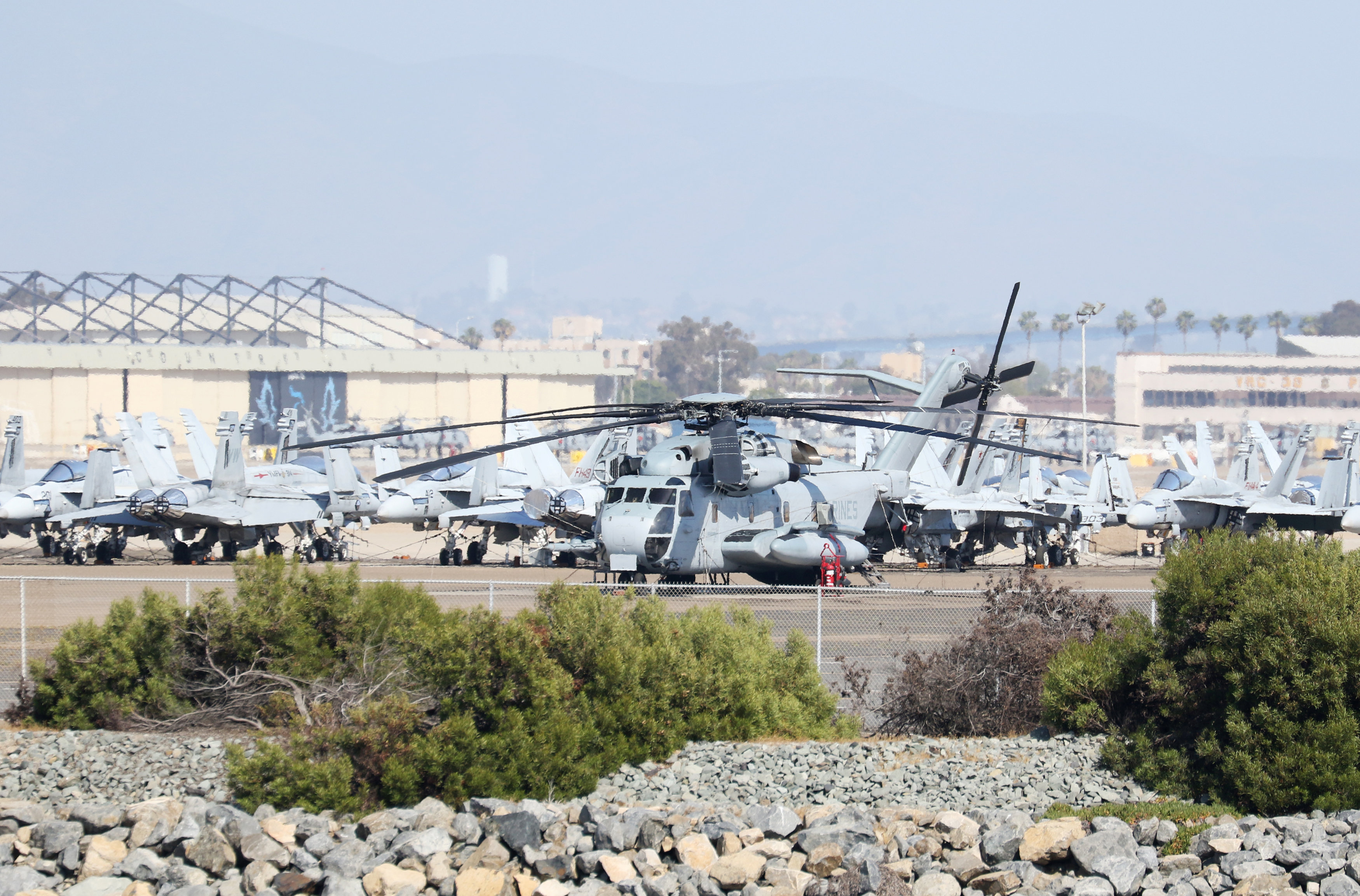 FILE PHOTO: A United States Marine Corps CH-53E Super Stallion Helicopter sits at North Island Naval Air Station Coronado, California, April 12, 2015. REUTERS/Louis Nastro/File Photo