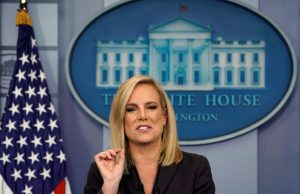 Homeland Security Secretary Kirstjen Nielsen speaks during a press briefing on border security at the White House in Washington, U.S., April 4, 2018. REUTERS/Kevin Lamarque