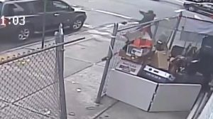 Saheed Vassell points a metal pipe before being shot to death by police in Brooklyn April 4, 2018, in a still image from surveillance video released by the New York Police Department in New York City, New York, U.S. on April 5, 2018. NYPD/Handout via REUTERS