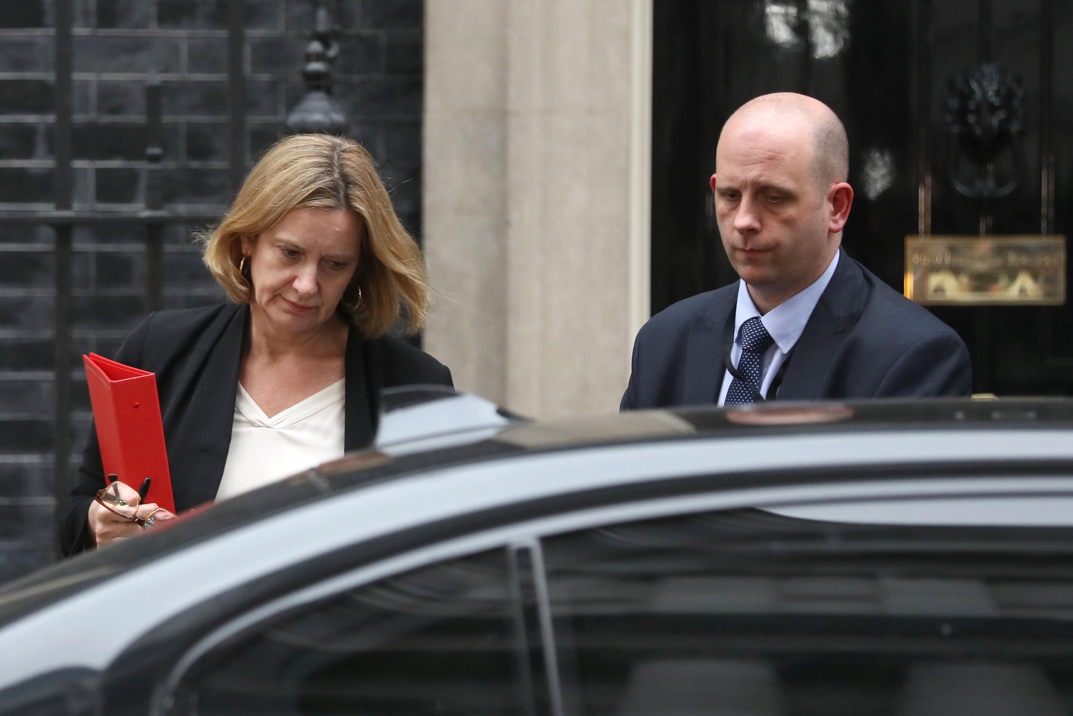 Britain's Home Secretary Amber Rudd leaves 10 Downing Street in London, Britain, April 12, 2018. REUTERS/Simon Dawson