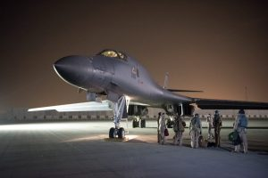 A U.S. Air Force B-1B Lancer and crew, being deployed to launch strike as part of the multinational response to Syria's use of chemical weapons, is seen in this image released from Al Udeid Air Base, Doha, Qatar on April 14, 2018. U.S. Air Force/Handout via REUTERS