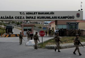 Turkish gendarmes patrol outside of Aliaga Prison and Courthouse complex in Izmir, Turkey April 16, 2018. REUTERS/Sadi Osman Temizel