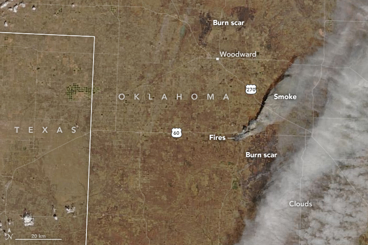 aerial view of fires burning in Oklahoma.