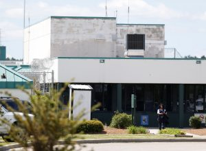A guard leaves the main entrance of the Lee Correctional Institution in Bishopville, Lee County, South Carolina, U.S., April 16, 2018. REUTERS/Randall Hill