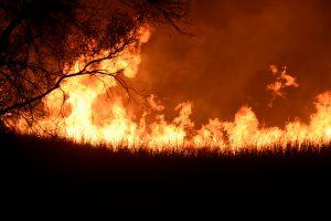 The Rhea fire burns into the night near Seiling, Oklahoma, U.S. April 17, 2018. REUTERS/Nick Oxford