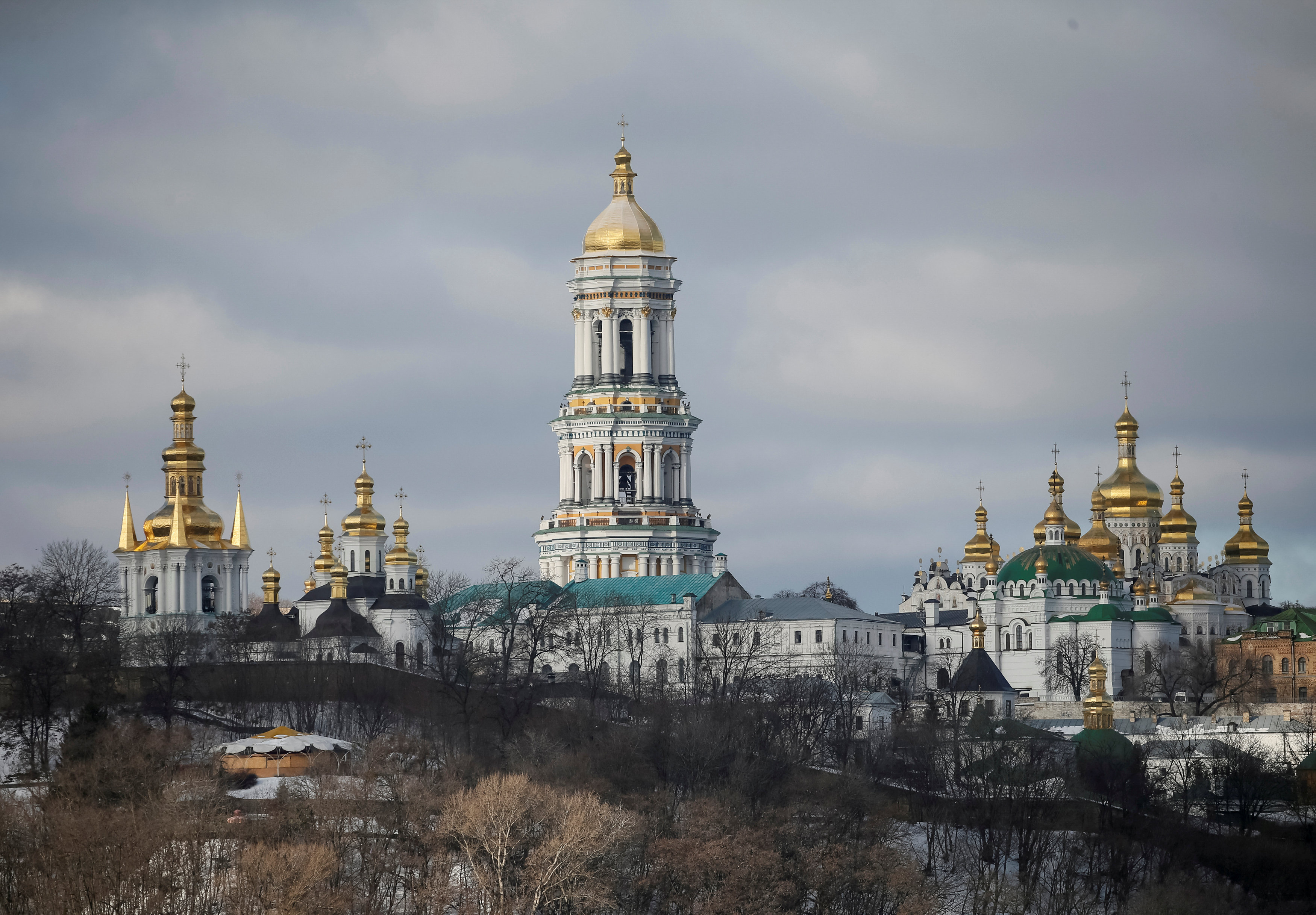 FILE PHOTO: A general view shows a bell tower and domes of the Kiev Pechersk Lavra monastery in Kiev, Ukraine January 22, 2017. REUTERS/Gleb Garanich/File Photo