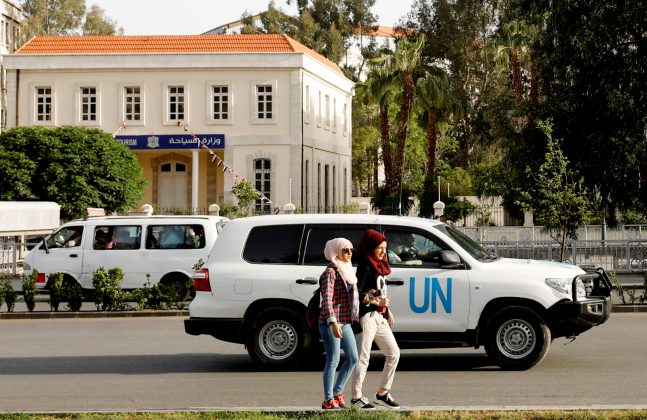 FILE PHOTO: The United Nation vehicle carrying the Organisation for the Prohibition of Chemical Weapons (OPCW) inspectors is seen in Damascus, Syria April 17, 2018. REUTERS/Omar Sanadiki