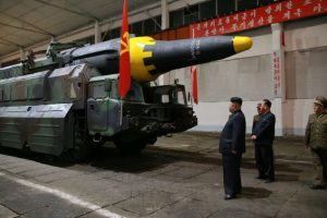 North Korean leader Kim Jong Un inspects the long-range strategic ballistic rocket Hwasong-12 (Mars-12) in this undated photo released by North Korea's Korean Central News Agency (KCNA) on May 15, 2017. KCNA via REUTERS