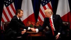 FILE PHOTO: U.S. President Donald Trump meets French President Emmanuel Macron in New York, U.S., September 18, 2017. REUTERS/Kevin Lamarque/File Photo