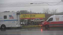 The truck of Travis Reinking, the suspected shooter, is loaded on a trailer ready to be towed from the scene of a fatal shooting at a Waffle House restaurant near Nashville, Tennessee, U.S. April 22, 2018. REUTERS/Harrison McClary