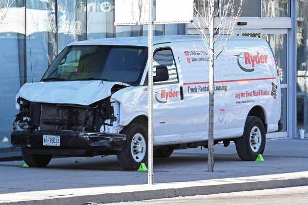A damaged van seized by police is seen after multiple people were struck at a major intersection northern Toronto, Ontario, Canada, April 23, 2018. REUTERS/Saul Porto