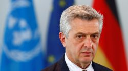 U.N. High Commissioner for Refugees Filippo Grandi adresses the media with German Chancellor Angela Merkel (not pictured) following their talks in Berlin, Germany, April 23, 2018. REUTERS/Fabrizio Bensch