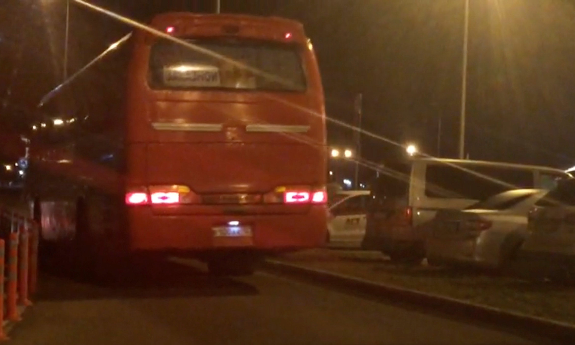 A still image from a video footage taken on April 6, 2018 shows a bus transferring Russian private military contractors leaving an airport outside Rostov-on-Don, Russia. REUTERS/Stringe