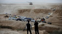 Israeli rescue services personnel operate near the site where a group of Israeli youths was swept away by a flash flood, near the Zafit river bed, south to the Dead Sea, Israel, April 26, 2018. REUTERS/Amir Cohen