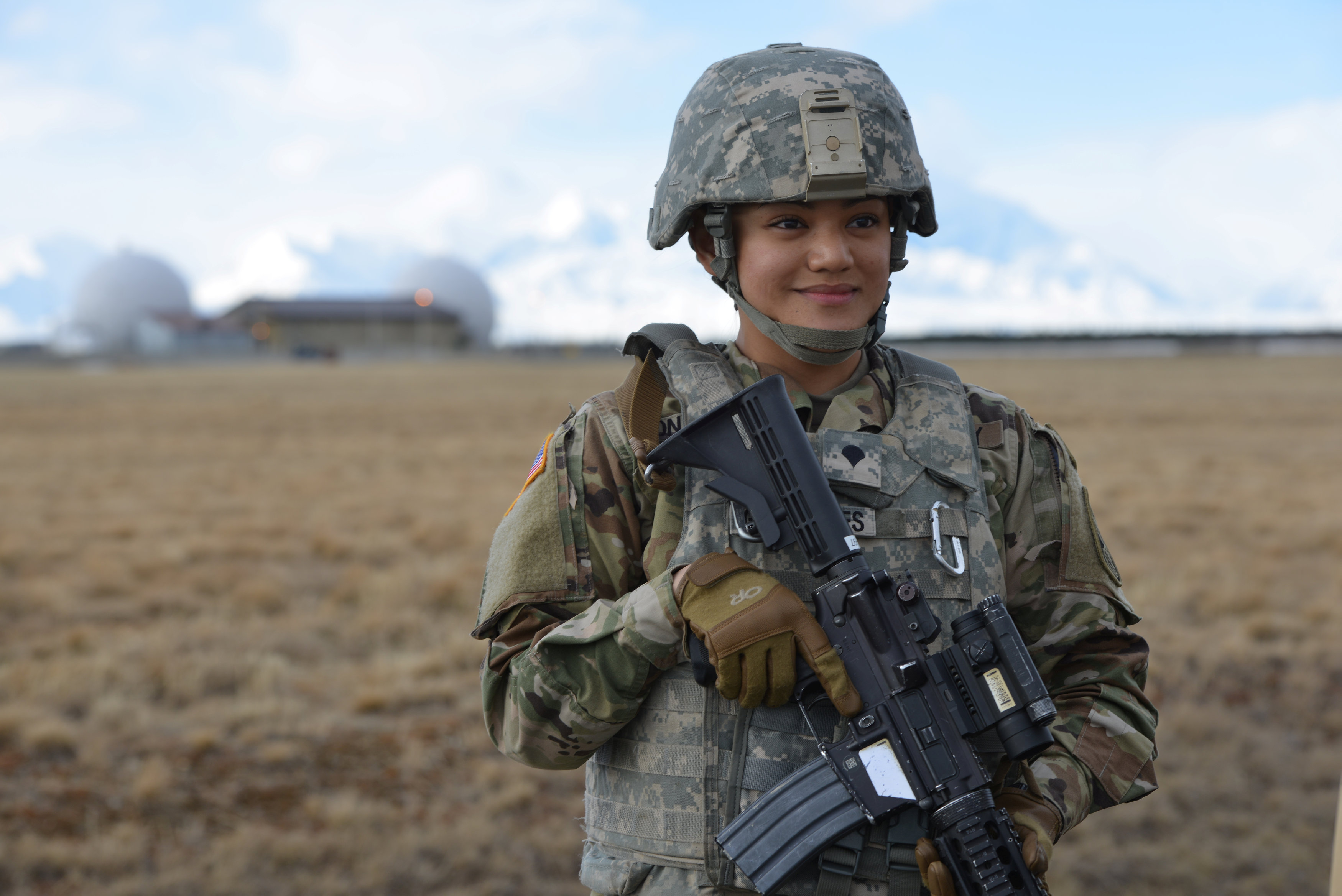 Specialist Sychelle Gonsalves of the 49th Missile Defense Battalion Military Police is pictured at the Ft. Greely missile defense complex in Fort Greely, Alaska, U.S., April 26, 2018. REUTERS/Mark Meyer