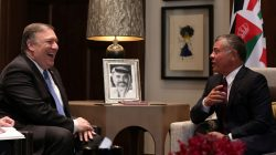 U.S. Secretary of State Mike Pompeo meets with Jordan's King Abdullah II at the Royal Palace in Amman, Jordan April 30, 2018. Khalil Mazraawi/Pool via Reuters