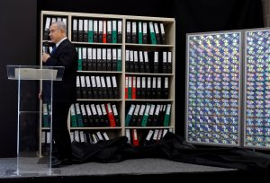 Israeli Prime minister Benjamin Netanyahu speaks during a news conference at the Ministry of Defence in Tel Aviv, Israel April 30, 2018. REUTERS/ Amir Cohen