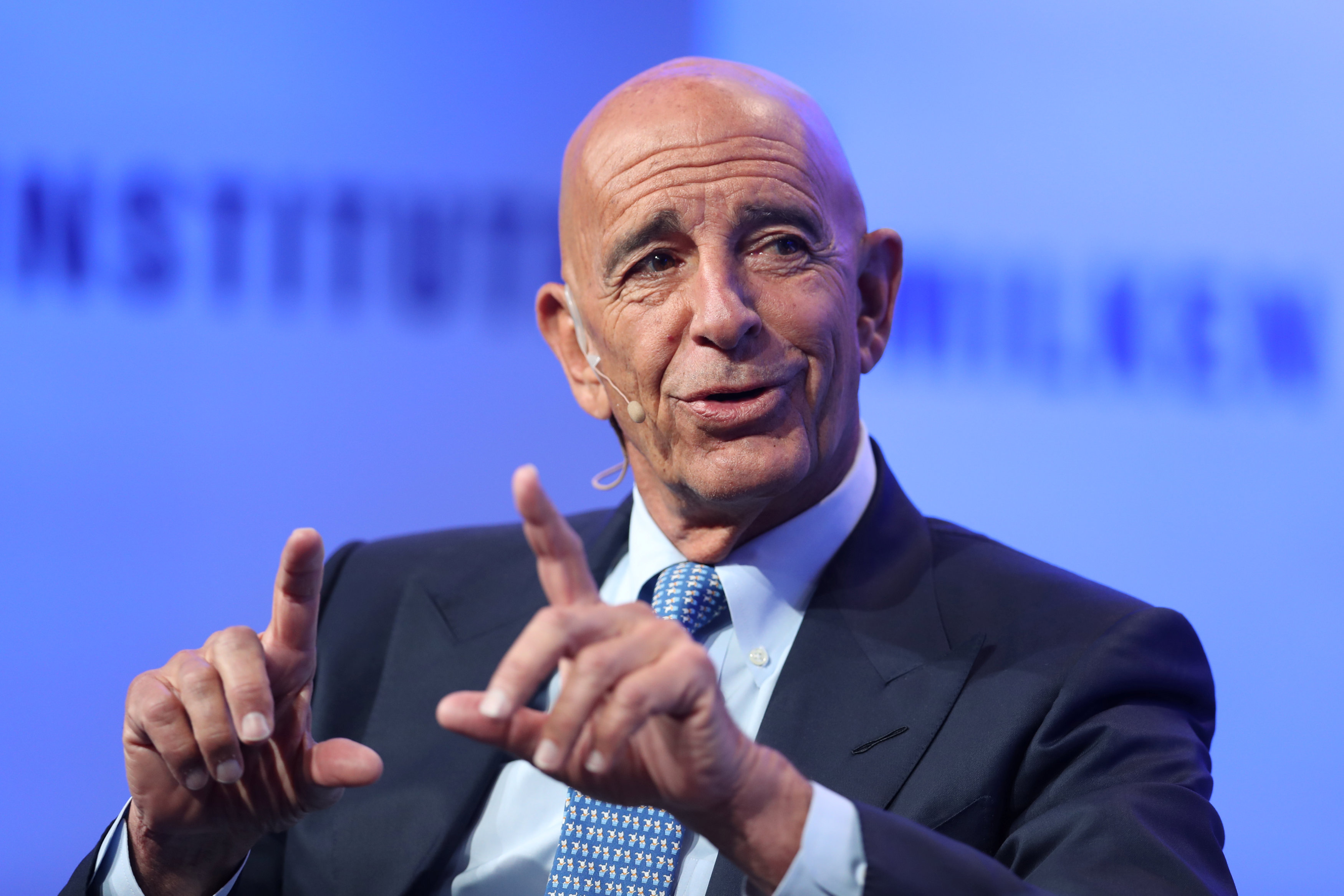 Thomas Barrack, Executive Chairman, Colony Northstar, speaks at the Milken Institute's 21st Global Conference in Beverly Hills, California, U.S. May 1, 2018. REUTERS/Lucy Nicholson
