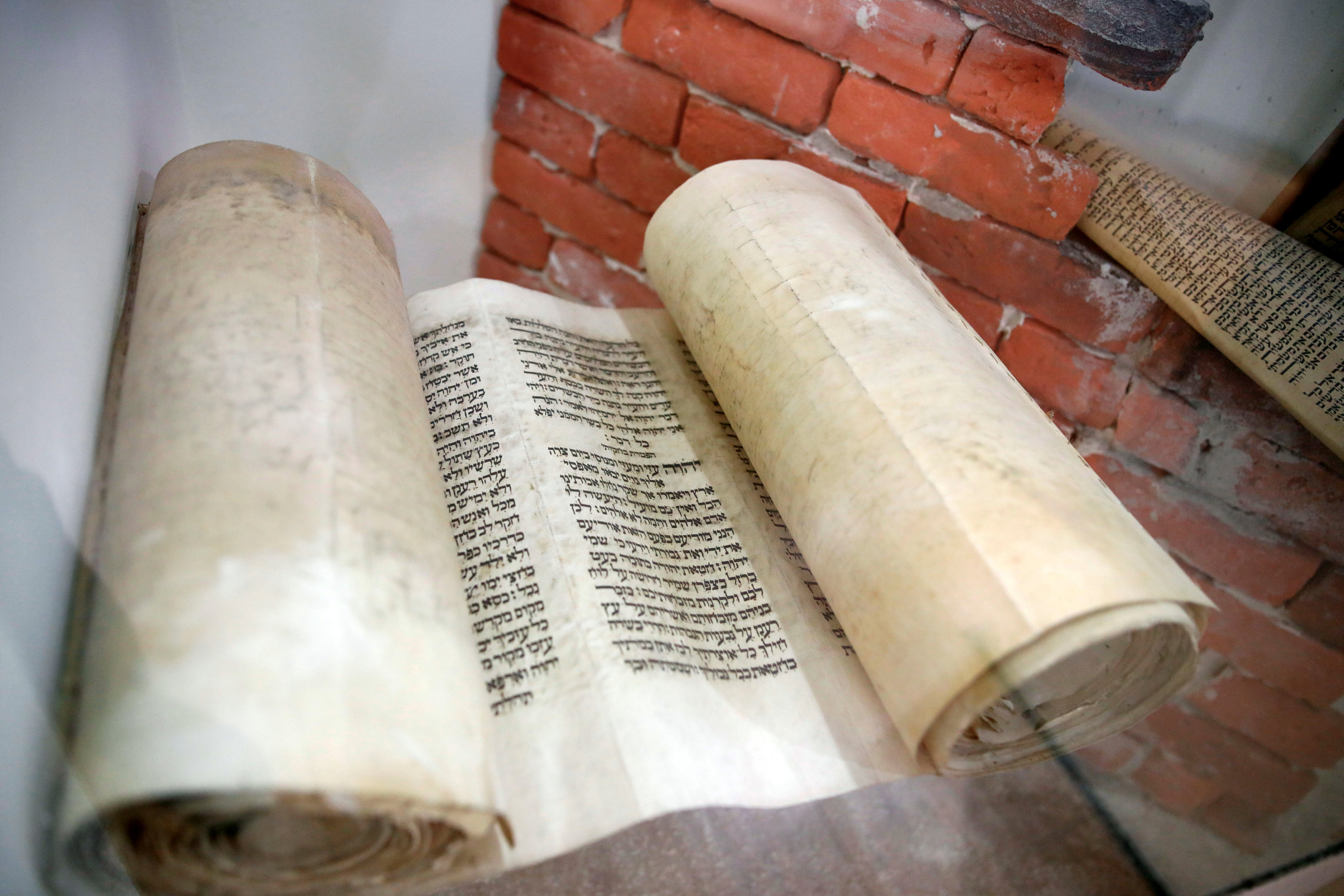 A Jewish holy scroll is seen on display at the Babylonian Jewry Heritage Center in Or Yehuda, Israel, April 16, 2018. REUTERS/Amir Cohen