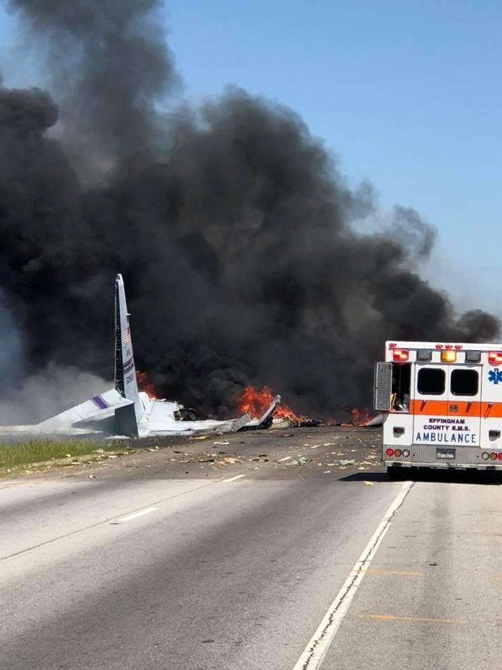 The site of a military plane crash is seen in Savannah, Georgia. JAMES LAVINE/via REUTERS