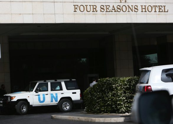 FILE PHOTO: The United Nation vehicle carrying the Organisation for the Prohibition of Chemical Weapons (OPCW) inspectors is seen in Damascus, Syria April 18, 2018. REUTERS/ Ali Hashisho