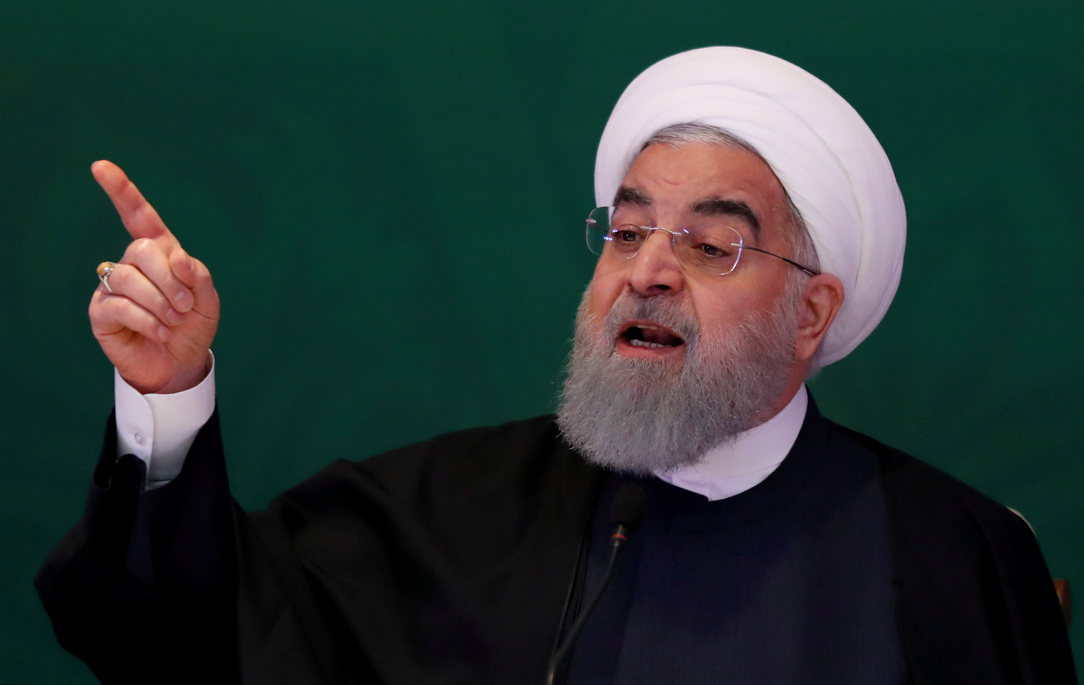 FILE PHOTO: Iranian President Hassan Rouhani speaks during a meeting with Muslim leaders and scholars in Hyderabad, India, February 15, 2018. REUTERS/Danish Siddiqui/File Photo