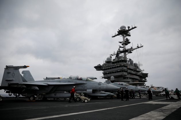 F/A-18 fighter jets are seen on the flight deck of the USS Harry S. Truman aircraft carrier in the eastern Mediterranean Sea, May 5, 2018. Picture taken May 5, 2018. REUTERS/Alkis Konstantinidis