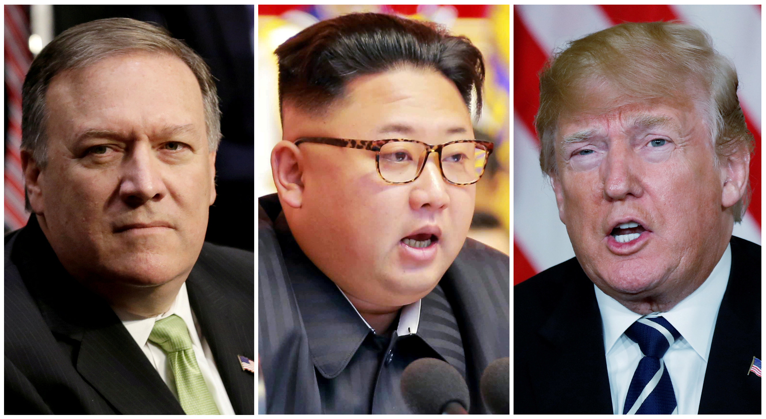 FILE PHOTO: A combination photo shows Mike Pompeo (L) in Washington, North Korean leader Kim Jong Un (C) in Pyongyang, North Korea and U.S. President Donald Trump (R), in Palm Beach, Florida, U.S., respectively from Reuters files. REUTERS/Yuri Gripas (L) & KCNA handout via Reuters & Kevin Lamarque (R)
