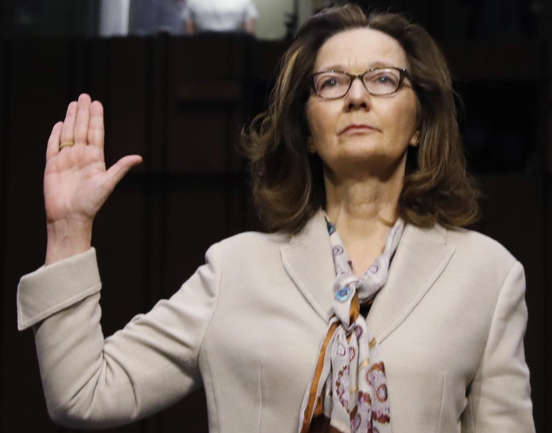 Acting CIA Director Gina Haspel is sworn in prior to testifying at her Senate Intelligence Committee confirmation hearing on Capitol Hill in Washington, U.S., May 9, 2018. REUTERS/Kevin Lamarque