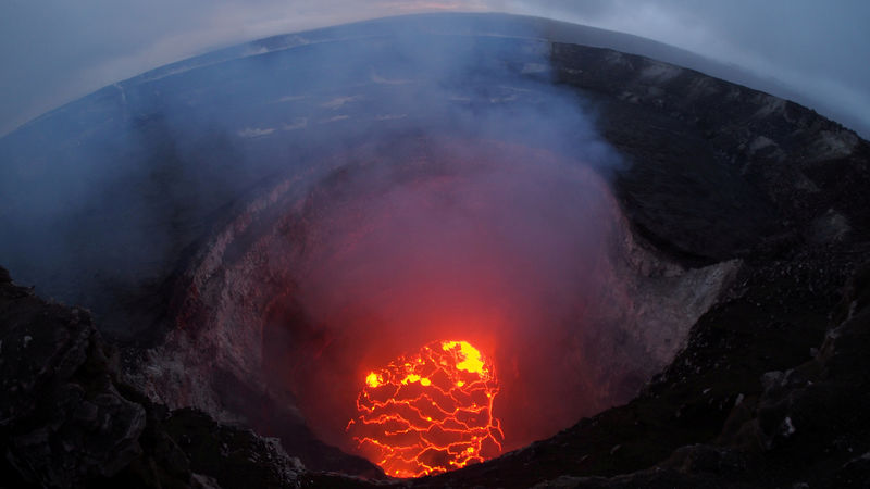 Kilauea volcano's summit lava lake shows a significant drop of roughly 220 metres below the crater rim in this wide angle camera view showing the entire north portion of the Overlook crater in Hawaii, U.S. May 6, 2018. Picture taken on May 6, 2018. USGS/Handout via REUTERS