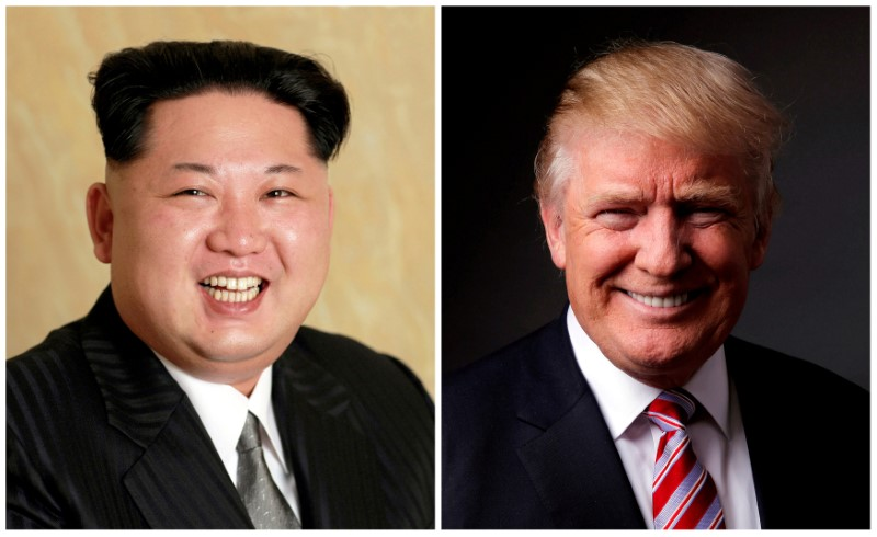 FILE PHOTO - A combination photo shows a Korean Central News Agency (KCNA) handout of Kim Jong Un released on May 10, 2016, and Donald Trump posing for a photo in New York City, U.S., May 17, 2016. REUTERS/KCNA handout via Reuters/File Photo & REUTERS/Lucas Jackson/File Photo