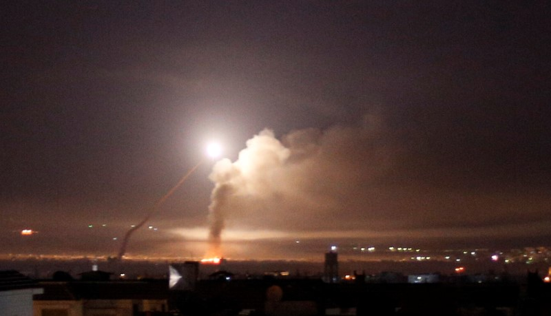 Missile fire is seen from Damascus, Syria. REUTERS/Omar Sanadiki